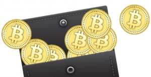Image of a wallet containing physical Bitcoin.