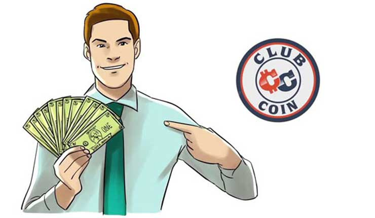 ClubCoin logo and a man holding banknotes.