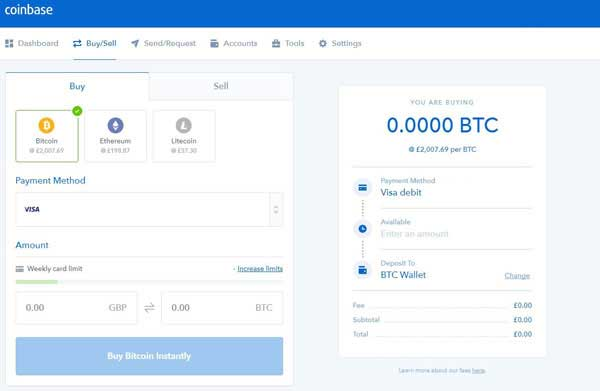 Coinbase Buy/Sell Screen
