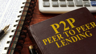 "Book with ""P2P Peer-to-Peer Lending"" on the cover"