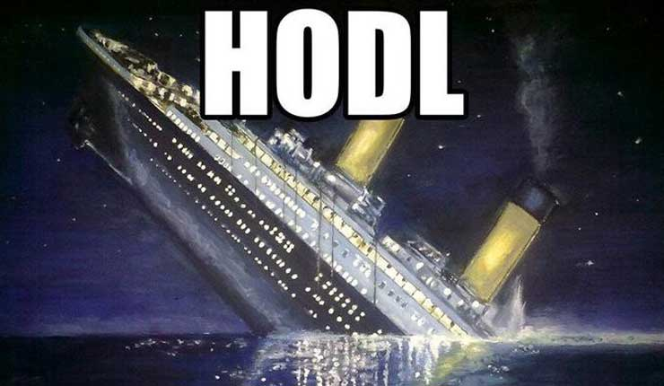 """An image of the Titanic sinking with the word """"HODL"""""""