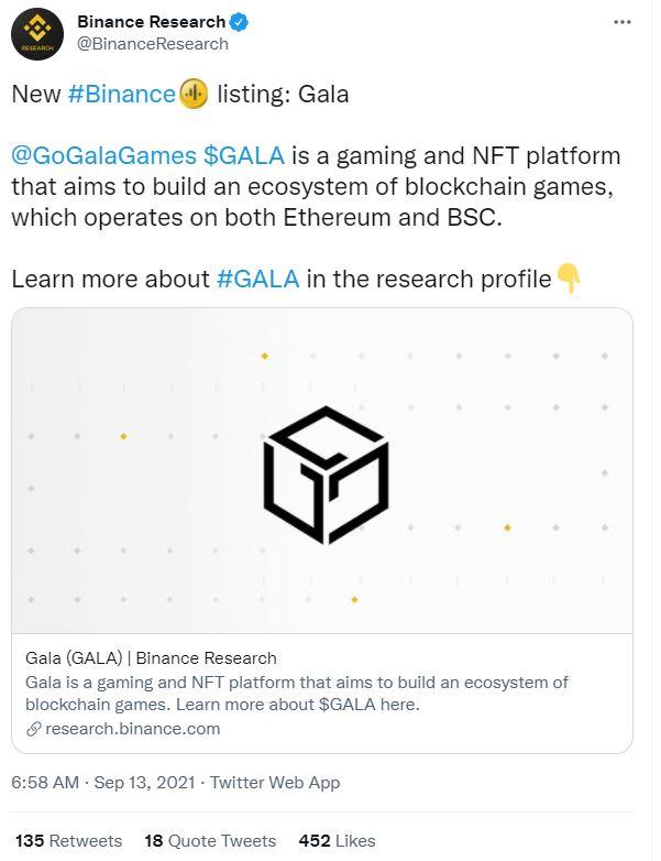 Gala Games and Binance Tweet